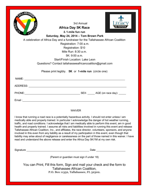 2014 Africa Day Registration